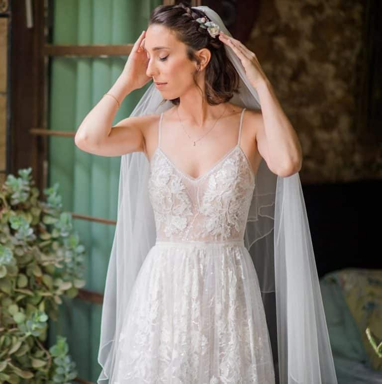 שמלת כלה מעוצבת בטבע של המעצבת שרון כץ